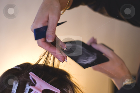Hairdresser coloring hair stock photo, Hairdresser cutting hair by Serge VILLA