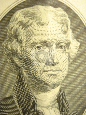 Jefferson stock photo, Macro shot of Thomas Jefferson on two dollar bill. by Todd Dixon