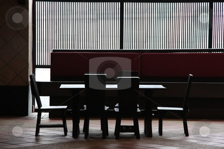 Restaurant furniture stock photo, Wooden restaurant table and chairs high contrast by Kheng Guan Toh