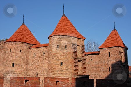 Warsaw old town stock photo, Brick castle parapets in Warsaw old town part of the old city defenses by Kheng Guan Toh