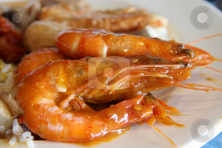 Spicy prawns stock photo, Whole cooked spicy prawns traditional asian cuisine by Kheng Guan Toh