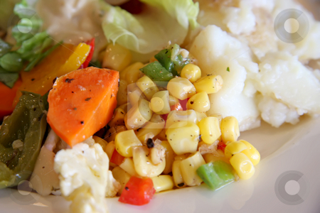 Vegetable salad stock photo, Fresh garden salad assorted vegetables on plate by Kheng Guan Toh