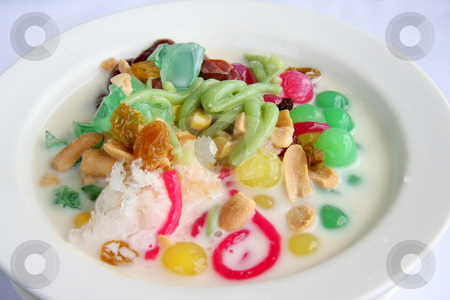 Shaved ice dessert stock photo, Asian shaved ice dessert with colorful jelly by Kheng Guan Toh