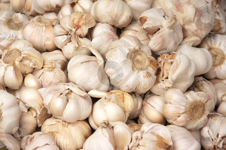 Whole garlic stock photo, Piles of many whole unpeeled raw garlic by Kheng Guan Toh
