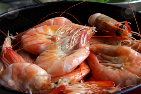 Whole cooked prawns stock photo, Whole fresh cooked prawns in shell unpeeled by Kheng Guan Toh