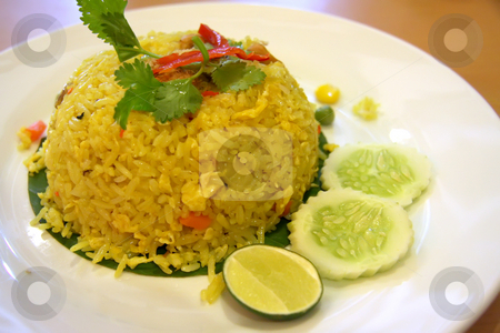 Thai fried rice stock photo, Thai fried rice on plate traditional asian cuisine by Kheng Guan Toh