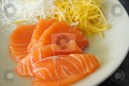 Salmon sashimi stock photo, Arrangement of salmon sashimi raw japanese seafood by Kheng Guan Toh
