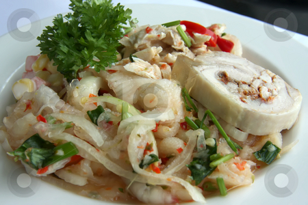 Spicy chicken salad stock photo, Spicy chicken salad asian cuisine cold meat dish by Kheng Guan Toh