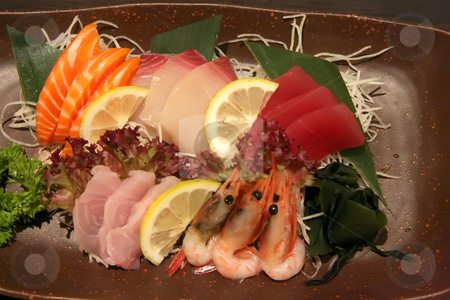 Plate of sashimi stock photo, Arrangement of sashimi sliced raw japanese fish dish by Kheng Guan Toh