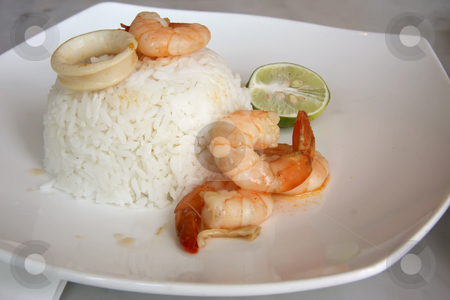 Rice with shrimp stock photo, Rice with shrimp and seafood traditional asian cuisine by Kheng Guan Toh