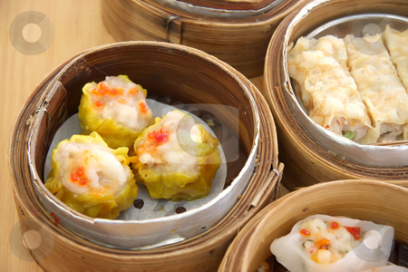 Steamed dimsum stock photo, Chinese steamed dimsum in bamboo containers traditional cuisine by Kheng Guan Toh