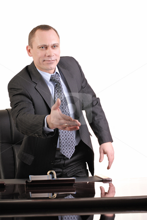 I greet you stock photo, Man is in office to greet came by Vadim Maier