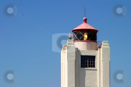 Port Hueneme Light Tower stock photo, The Port Hueneme Light Tower with a beautiful nice blue sky in the background. by Henrik Lehnerer