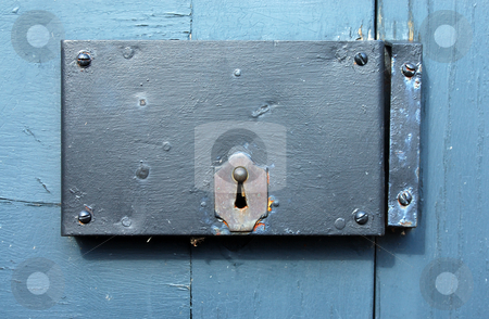 Antique door lock stock photo, Grey antique door lock by Will Burwell
