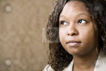 Pretty African-American Woman stock photo, Close-Up Portrait of a Pretty African-American Woman by Scott Griessel
