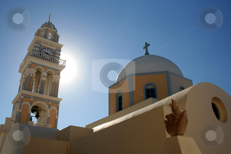 John the Baptist Roman Catholic Cathedral, Santorini, Greece stock photo, Clock tower and dome of St. John the Baptist Roman Catholic Cathedral, Santorini, Greece   Rebuilt following the 1956 earthquake  Photo taken in September 2008 by Thomas Marchessault
