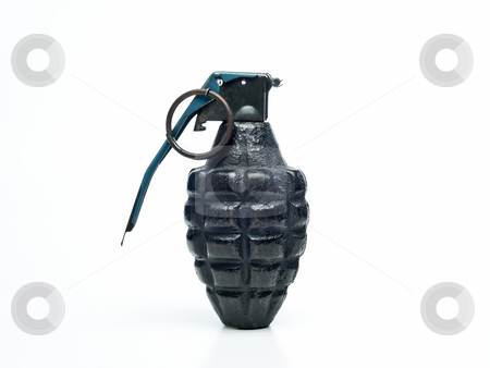 Grenade from WW2 stock photo, One grenade from world war two on a white background. by J. R.