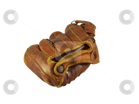 Baseball glove old stock photo, Old vintage baseball glove used in the 1940's and 50's. by J. R.