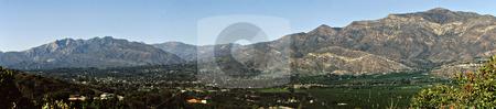 Ojai Valley Panorama stock photo, Panoramic view of Ojai Valley California by Joseph Ligori