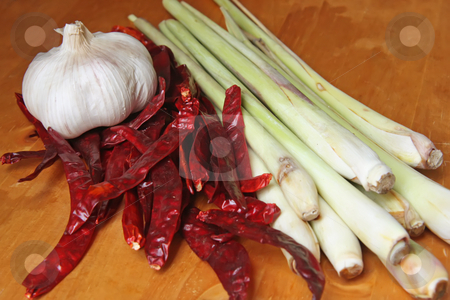 Asian cooking ingredients stock photo, Garlic, dried chillis, and lemongrass, asian cooking ingredients by Kheng Guan Toh