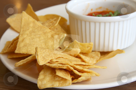 Nachos and salsa stock photo, Nachos and salsa mexican snack food fried corn chips by Kheng Guan Toh