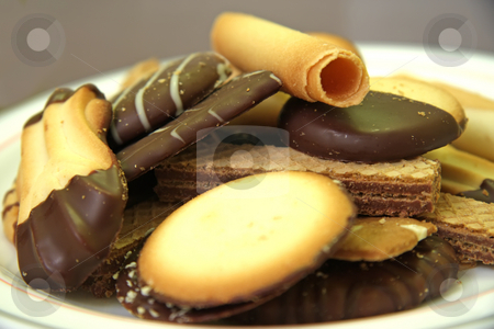 Assorted cookies stock photo, Assorted decorated cookies and wafers chocolate covered by Kheng Guan Toh