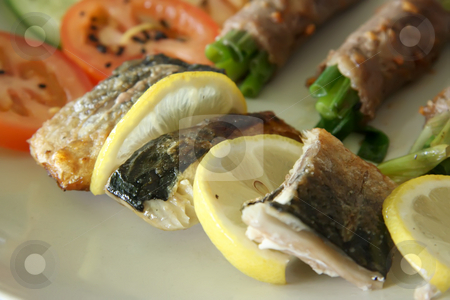Grilled salmon stock photo, Grilled salmon fish with lemon wedges seafood dish by Kheng Guan Toh