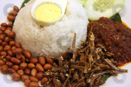 Nasi lemak stock photo, Nasi lemak traditional malaysian spicy rice dish by Kheng Guan Toh