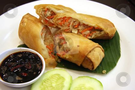 Fried springrolls stock photo, Fried chinese spring rolls traditional vegetable wraps by Kheng Guan Toh