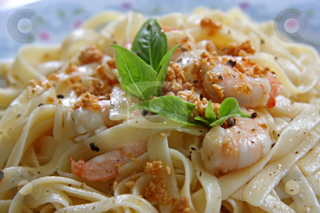 Pasta ala oglio stock photo, Pasta ala oglio with shrimp Italian cuisine by Kheng Guan Toh