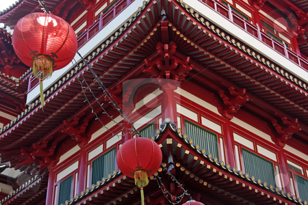 Chinese temple stock photo, Traditional chinese temple decorated with red lanterns by Kheng Guan Toh