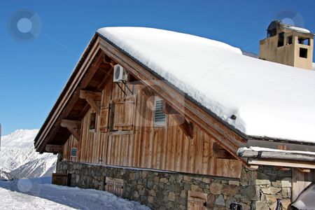 Alpine cabin stock photo, Traditional alpine cabin in the mountains of Chamonix French Alps by Kheng Guan Toh