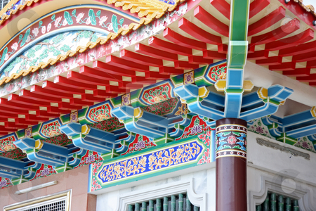 Traditional chinese temple stock photo, Architectural detail of  traditional chinese temple  rooftop by Kheng Guan Toh