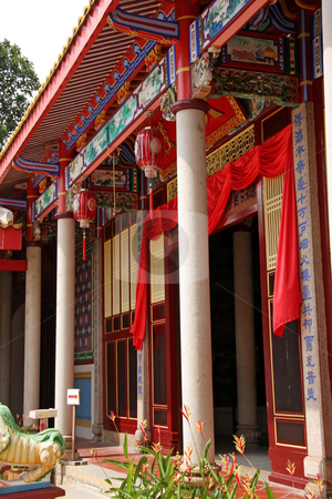 Wooden entrance stock photo, Wooden entrance to the main praying area in a Chinese temple by Kheng Guan Toh