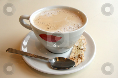 Coffee with biscotti stock photo, Foamy milk coffee in round cup with biscotti by Kheng Guan Toh