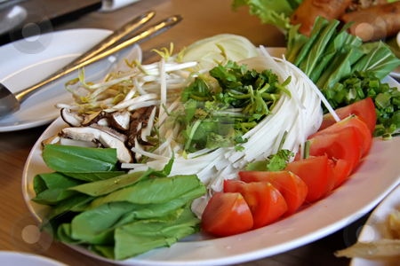 Fresh raw vegetables stock photo, Fresh raw vegetables prepared for vietnamese steamboat by Kheng Guan Toh