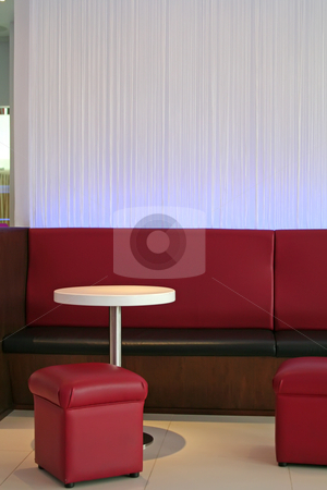 Modern lounge cafe stock photo, Modern trendy lounge waiting area cafe red and white theme by Kheng Guan Toh