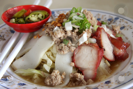 Chinese noodles stock photo, Traditional chinese noodle dish with sliced meat by Kheng Guan Toh