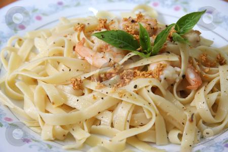 Pasta ala oglio stock photo, Pasta ala oglio with shrimp Italian cuisine by Kheng Guan Toh
