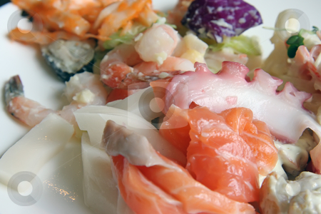 Fresh sashimi stock photo, Fresh sashimi platter featuring octopus salmon and prawns by Kheng Guan Toh