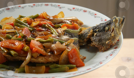 Chinese fried fish stock photo, Deep fried fish covered in sweet sour sauce and vegetables traditional chinese cuisine by Kheng Guan Toh