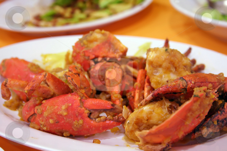 Fried crabs stock photo, Salted egg fried crabs traditional asian cuisine restaurant setting by Kheng Guan Toh
