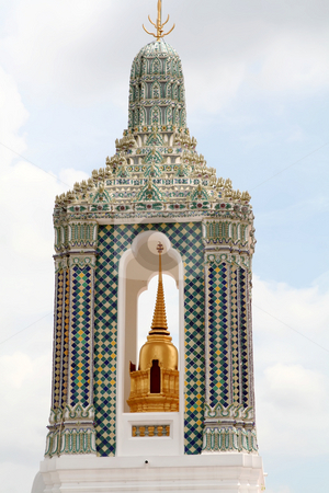 Thai temple stock photo, Thai temple architectural detail golden bell tower by Kheng Guan Toh