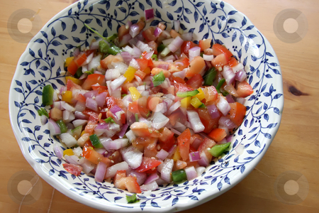 Fresh salad stock photo, Fresh italian salad with chopped vegetables  in bowl by Kheng Guan Toh