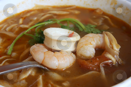 Spicy thomyam soup stock photo, Tomyam thomyam thom yam spicy thia thailand soup seafood prawns shrimp squid appetizer, asian, chinese, course, dining, dinner, entree, main, meal, mushrooms, noodles, pad, restaurant, seafood, shrimp, soup, spices, thai, thailand, tom, tomyam, tomyom, yam, yom, thomyam, thom-yam, thom, spicy, fish, traditional by Kheng Guan Toh
