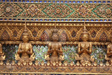 Emerald buddha temple stock photo, Architecture detail in the Emerald buddha temple in Bangkok Thailand by Kheng Guan Toh