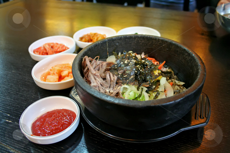 Korean rice stock photo, Traditional Korean cusine bimbimbap dish of mixed rice by Kheng Guan Toh