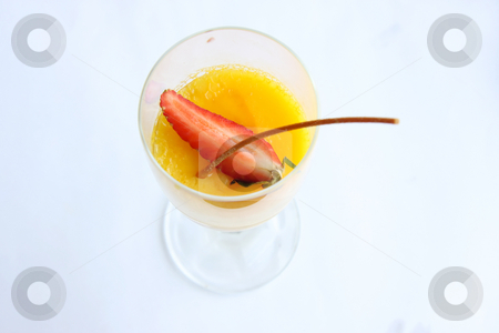 Fancy pudding stock photo, Fancy yellow pudding with garnish in glass cup by Kheng Guan Toh