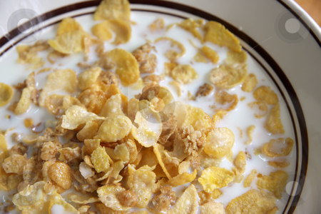 Corn flakes in milk stock photo, Bowl of breakfast cereal corn flakes in milk by Kheng Guan Toh