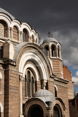 Stormy church stock photo, Eastern orthodox medieval church in stormy wather by Kheng Guan Toh
